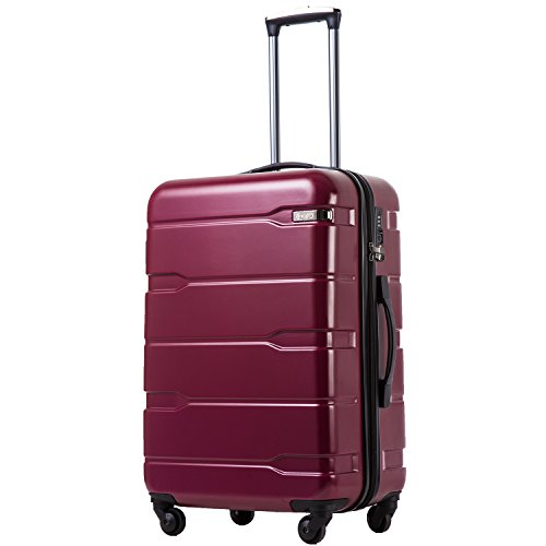 Coolife Luggage Expandable(only 28') Suitcase PC+ABS Spinner Built-In TSA lock 20in 24in 28in Carry on (Radiant Pink, L(28in).)