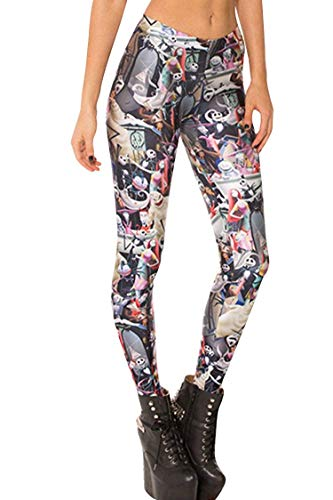 Tamskyt Women's Digital Print Women?s Full-Length Yoga Workout Leggings Thin Capris Stretchy Ankle Leggings Tights, Nightmare Before Christmas, One Size