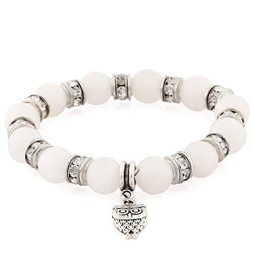 Morella Pulsera elástica de Perlas de Piedra con Colgante Lechuza y Piedras de circonita, Color Blanco, para Damas