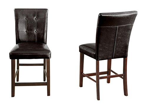 Homelegance Decatur PU Leather Counter Height Chair (Set of 2), Dark Brown