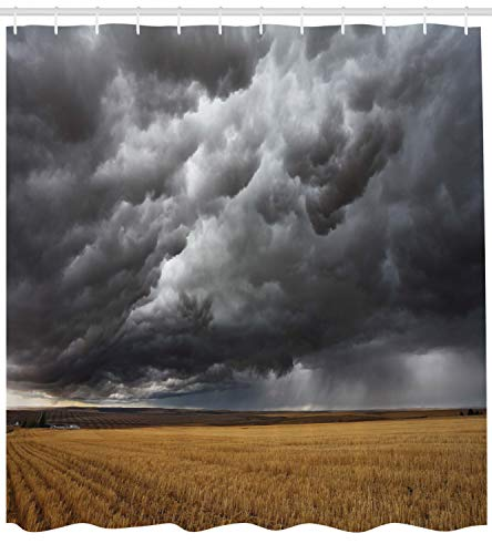 Ambesonne Landscape Shower Curtain, Thunderstorm Above The Fields Tornado Hurricane Image Weather Modern Country, Cloth Fabric Bathroom Decor Set with Hooks, 84