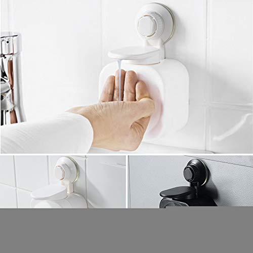 Dispensador de loción de jabón, montado en la pared, dispensador limpiador de manos con ventosa para champú de ducha, jabón limpiador de manos (blanco)