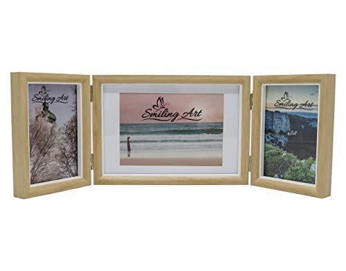 Smiling Art klappbarer Bilderrahmen für 3 Fotos in Querformat und Hochformat (Beige, 2x10x15 cm + 1x13x18 cm)