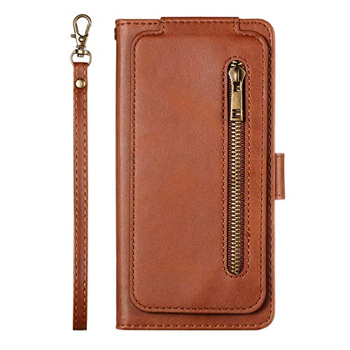 Uposao Kompatibel med Huawei P30 Lite fodral dragkedja läder flip skyddsfodral 9 kortfack mobiltelefonfodral multifunktionell plånbok mobilfack magnetlås, brun