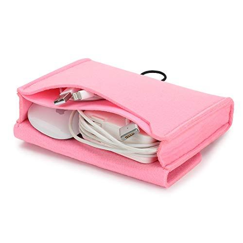 Nidoo Tragbare Filztasche für Maus, Handy, Kabel, Festplatte, Powerbank etc. Rot