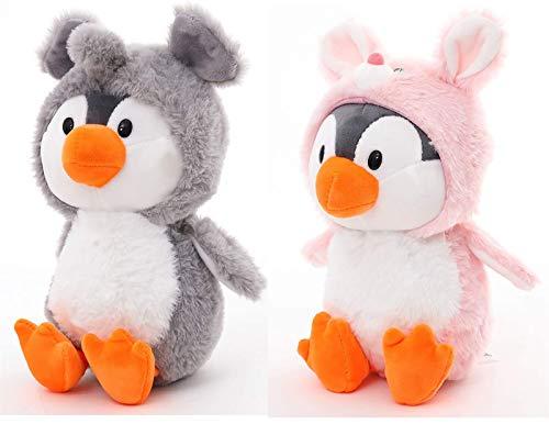 JTL Adorable pingüino Relleno de Animales Vestidos con Conejo y Traje de Elefante Juguetes Lindos para niños Regalo de Animal de Peluche para cumpleaños, San Valentín, Navidad