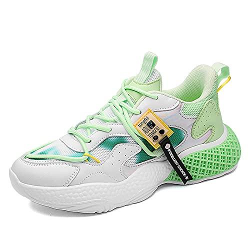 HLDJ Zapatillas De Deporte para Mujer Empalme Lace Up Sport Zapatillas Running Zapato Casual Al Aire Libre Caminar Al Aire Libre Piso Senderismo Entrenamiento para Mujer Tenis,Verde,EU38US7.5UK5.5