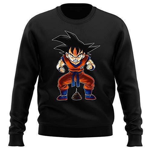 Okiwoki Pull Noir Parodie Dragon Ball Z - DBZ - Sangoku - Super Caca - Vol.1 (Sweatshirt de qualité Premium de Taille L - imprimé en France)
