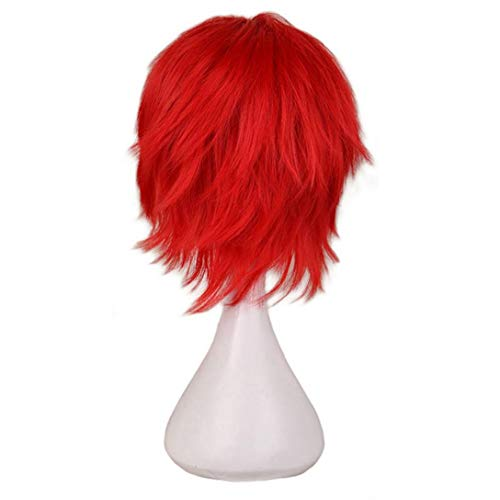 Women Short Fluffy Density Wigs, Red Wigs, Synthetic Heat Resistant Costume Hair Head Full Wig, Natural Look, 35cm
