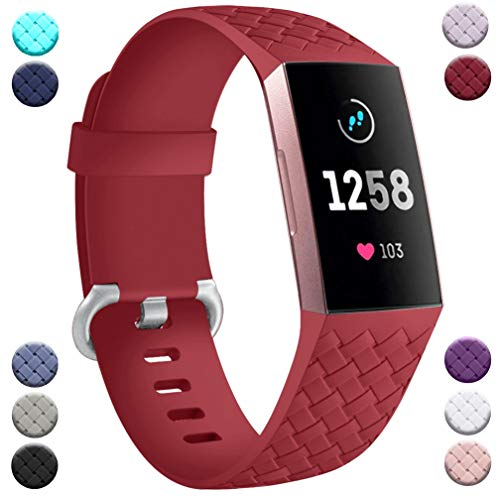 Wepro Compatible con Fitbit Charge 3 Correa/Fitbit Charge 4 Correa - Correa de Repuesto Deportiva de Silicona Suave para Fitbit Charge 3/Charge 4/SE, S Rojo Oscuro