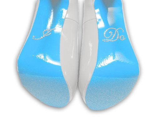 'I Do' Rhinestone Sticker with Blue Colored Shoe Sole Kit - Slip Resistant Shoe Bottom Cover for Women's Heels - 2 Different Blues (Sky Blue)
