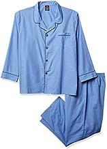 Hanes Men's Woven Plain-Weave Pajama Set Blue