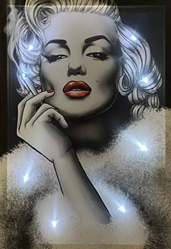 Samarkand-Lights LED-Bild mit Beleuchtung LED- Bilder Leinwandbild 65 x 45 cm Leuchtbild Wandbild Monroe