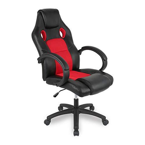 YIFAA Racing Chaise Moderne Confortable Ergonomique De Bureau en Similicuir PU Haute Dossier Siège Baquet Fauteuil Sport Gaming Pivotant pour Gamer Joueur Ordinateur (Noir + Rouge)