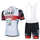 AJL Camiseta de Ciclismo para Hombre de Manga Corta Emiratos Árabes Unidos, Maillot de Ciclismo al Aire Libre Verano,Pro Road Bike Race Club, Conjunto Combinado Ciclo compresión Secado rápido