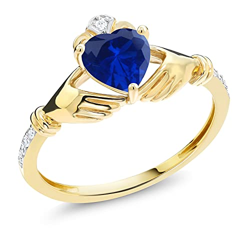 Gem Stone King 0.86 Ct Irish Celtic Claddagh Blue Created Sapphire Diamond Accent 10K Yellow Gold Ring (Size 7)