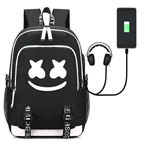 Mochila Escolar Marshmello DJ, Mochilas Infantiles para Chicas Estudiantes Marshmello Logo Backpack Bolso Portátil Viaje con USB Puerto (Black)