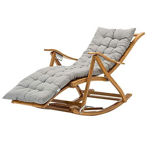 Rocking Chair Armchair Lounging Rocker Deck Relaxing Recliner Lounger Seat Bamboo Outdoor& Indoor for Garden, Lawn, Balcony, Backyard and Patio Porch Rocker