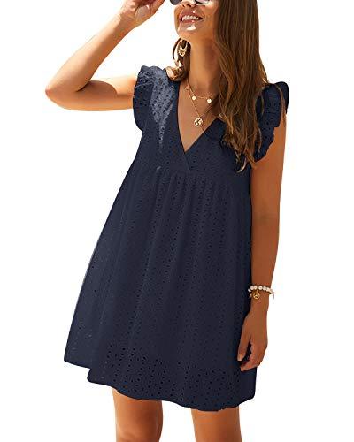 YOINS Kleider Damen V-Ausschnitt MiniKleid Kurzarm Babydoll Tunika Kurze Freizeitkleid Sommerkleid A-Line