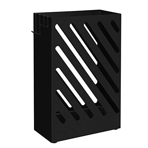 SONGMICS Umbrella Stand, Rectangular Umbrella Holder with Water Tray, Hooks, Hollow-Out Design, Black ULUC03BK