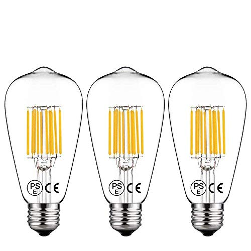 LED Filamento E27 Vintage Edison Lampadina 10W Bianco Naturale 4000K[3 Pacco], LuxVista Lampadina Retro Stile Decorativa Vite ES Equivalente a 100W Incandescente Non Dimmerabile