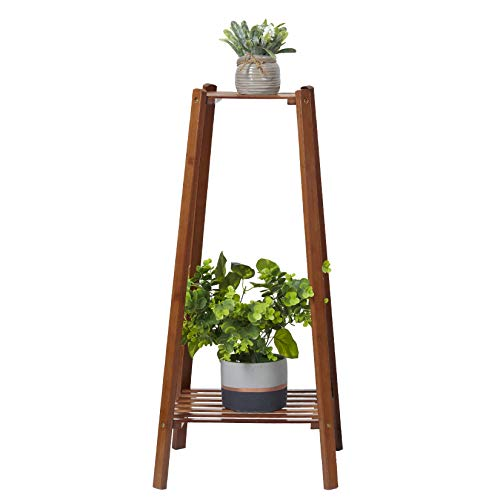 medla Estanterias para Macetas de Bambú, Soporte Macetas Plantas Interior Exterior con 2 Niveles,...