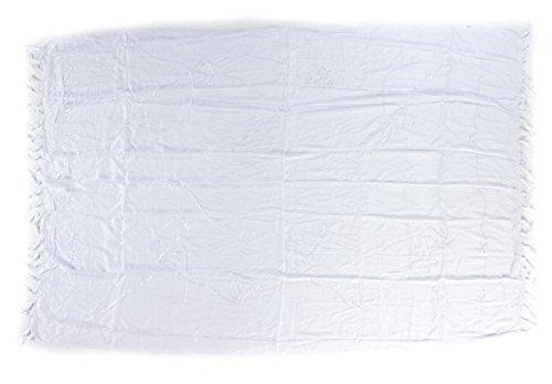 Ciffre Premium Sarong Pareo Wickelrock Strandtuch Lunghi Dhoti Schlicht Blickdicht Tolle Stickerei Einfarbig Uni Weiß