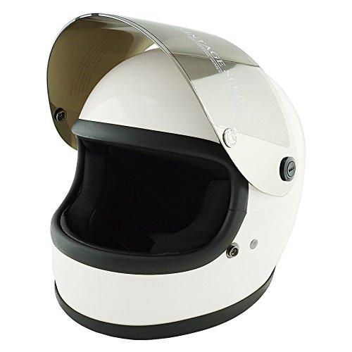 NEO VINTAGE レトロスタイル フルフェイス SG規格品 [ホワイト×シルバーミラーシールド 白 Mサイズ:57-58cm対応] VT-7 バイクヘルメット