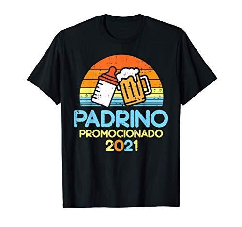 Hombre Padrino 2021 Cerveza Futuro Anuncio Embarazo Hombre Regalo Camiseta