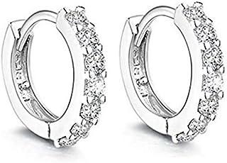 Sterling silver rhinestone circle diamond stud earrings for women