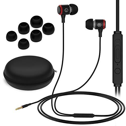 Amarion In Ear Kopfhörer mit Mikrofon & Tasche mit Kabel - Headset Headphones mit Noise Cancelling für Handy, iPhone, Sony, PS5, Sport, Gaming, Huawei, Tablet, PS4, Joggen, P30, Galaxy, Earpods