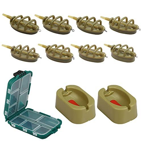 CINVEED 11 Stücke Method Feeder Set Angeln Inline Feeder Kunststoff Karpfenangeln Zubehör mit Köderbox Köderform Köderfutterern Geeignet für Verschiedenen Gewichten Angelnzubehör