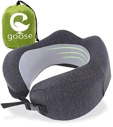 Goose Memory Foam Cool Travel Pillow for Airplane Sleeping - Ergonomic U-Shaped Portable Neck Support - Ultra Soft, Breathable & Washable Cover - 3D Eye Mask, Carry Bag & Ear Plugs - Dark Grey