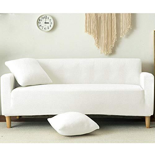 Nannan Funda de sofá Blanca, Funda de sofá elástico para Sala de Estar, Funda de sofá Chaise Longue en Forma de L-Blanco_2 plazas 145-185cm