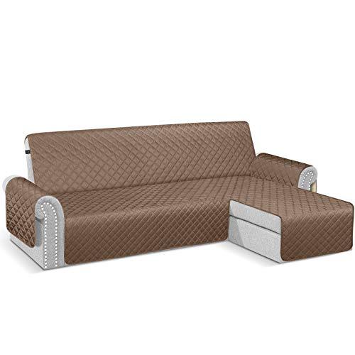 TAOCOCO Fundas para Sofa Chaise Longue Impermeable, Funda Cubre Sofá Cheslong, Funda de cojín de protección para Mascotas Antisuciedad. (Marrón-Derecha, Visto DE Frente, 240_x_270_cm)
