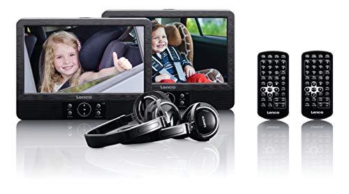 Lenco Tragbarer DVD-Player DVP-939 - Doppel DVD-Player Set - 2 x 9 Zoll Bildschirm - minimal 4 Stunden Akkulaufzeit - 2 Kopfhörer - 2 Fernbedienungen - 2 Befestigungen - Schwarz