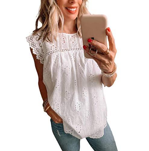 Chaleco sin Mangas de Encaje para Mujer Camisa Superior Suelta de Color slido de Moda Informal