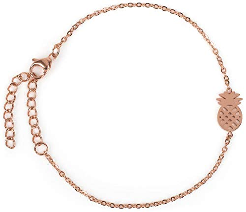 styleBREAKER Damen Edelstahl Armkette mit Ananas Charm, Ankerkette, Schmuck 05040159, Farbe:Rosegold