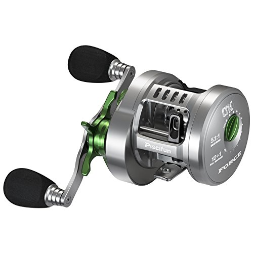 Piscifun Force Round Baitcasting Reel Fully Machined Aluminum Fishing Reel 12+1 Double Shielded Stainless Steel Bearings Baitcasters Reels (Right Handed)