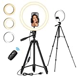 TONOR 12' Large Selfie Ring Light with Tripod Stand, Bluetooth Remote Shutter with Phone Holder for Zoom/TikTok/Makeup/YouTube/Photographer/Streaming/Conference, Compatible with iOS/Android (TRL-20)