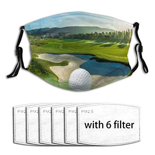 Decken Schlafsofa werfen leichte gemütliche Plüsch Golfplatz schöne Sky Hole Bunker,Staubwaschbarer wiederverwendbarer Filter und wiederverwendbarer Mundschutz gesicht mit 6 Filtern