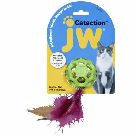 JW Pet Company Cataction Feather Ball with Bell, Cat Toy