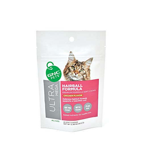 GNC Pets Ultra Mega Hairball Formula Soft Chews Supplement for Cats, 45 Count - Chicken Flavor | Supports a Beautiful Coat (FF13799)