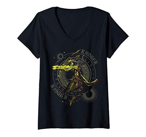 Womens Elven Ranger Archer Fantasy Roleplaying Dungeons RPG Gamers V-Neck T-Shirt