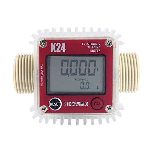 Turbinen-Durchflussmessgerät Wasser Kraftstoff Digital K24 10-120L Min Flowmeter Chemical Flowmeter Elektronik Turbine Sensor für Chemikalien Ultraschall (Red horizontal)