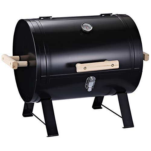Outsunny 20' Mini Small Smoker Charcoal Grill Side Fire Box, Portable Outdoor Camping Barbecue Grill with Wooden Handles