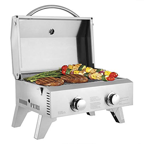 EFIL YPPAH Portable Propane Gas Grill, Stainless Steel Tabletop Grill, Two-Burner, 20000 BTU BBQ Grid with Foldable Legs for Outdoor Camping Trip Picnic Tailgating, Patio Garden BBQ Home Use Grills Propane