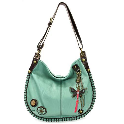 Chala Handbag Charming Hobo Crossbody Large Tote Bag with Teal Butterfly Charm (Teal)