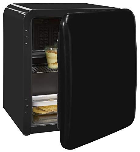 Exquisit Mini-Kühlschrank RKB 04-14 A+ sw | Retrostyle | 48 Liter | Gitterablage | Schwarz
