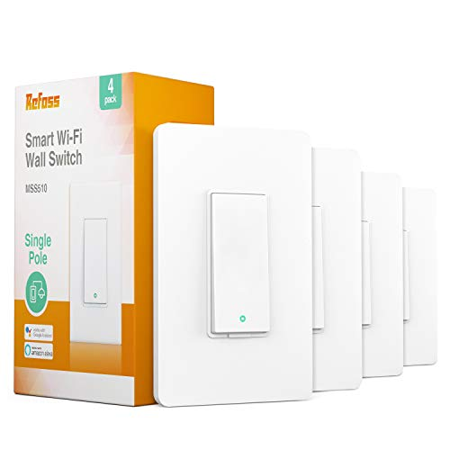 Refoss Smart Wi-Fi Light Switch Wall Switch, Compatible with Alexa and Google Assistant, Remote Control, Timer, Single-Pole, No Hub Required - 4 PACK